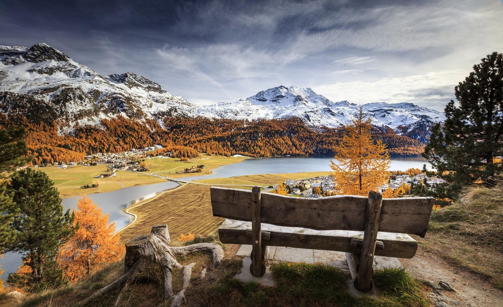 Free Fall Wallpaper And Screensavers Hintergrundbilder Landschaft Berge See Natur Schnee