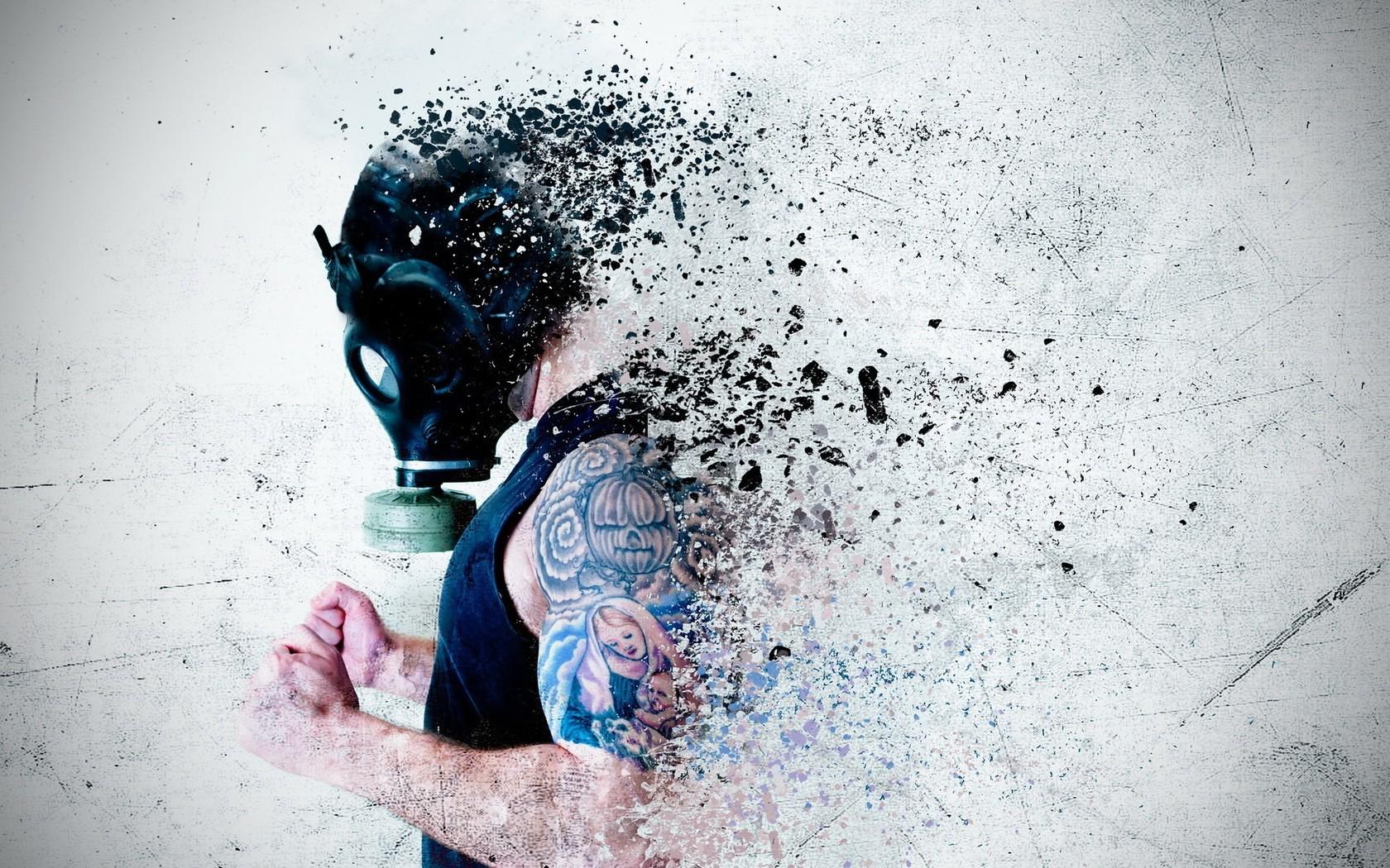 Girl Mask Wallpaper Wallpaper Men Drawing White Gas Masks Water Tattoo