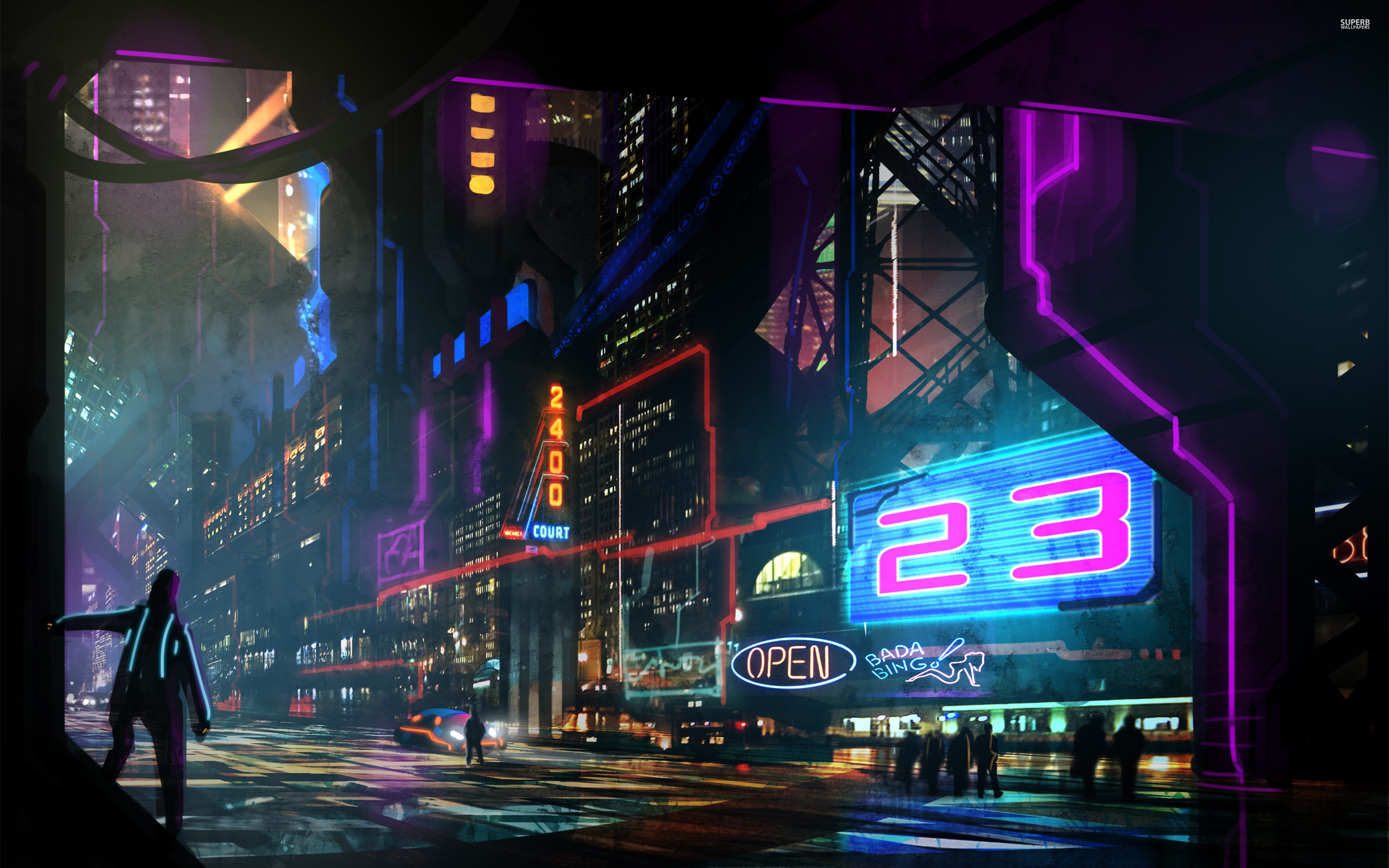 All Car Hd Wallpaper Download Wallpaper Night Cyberpunk Neon Sign Disco Stage