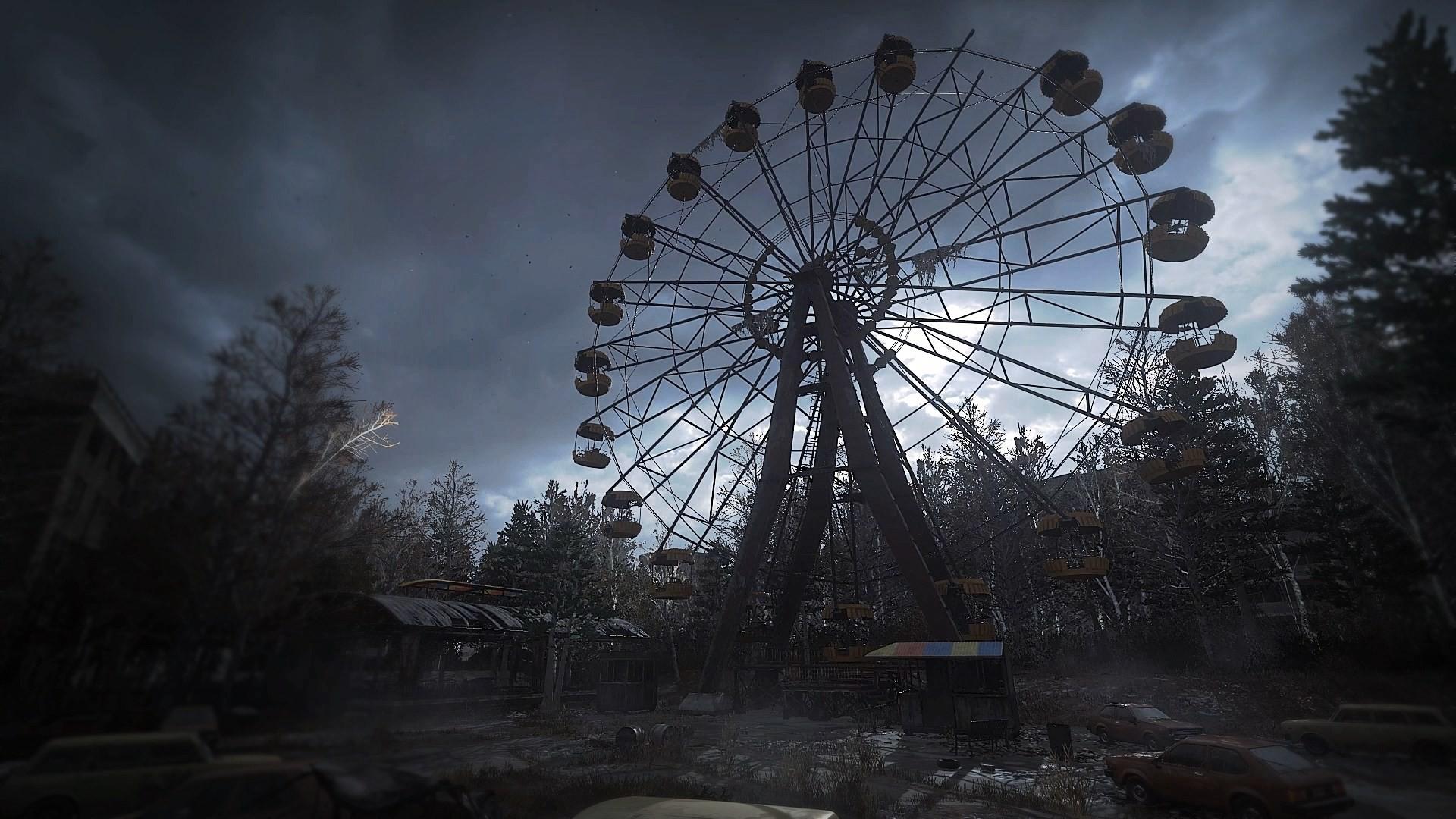 Wallpaper Desktop 1366x768 Car Wallpaper Night Park Ferris Wheel Chernobyl Pripyat