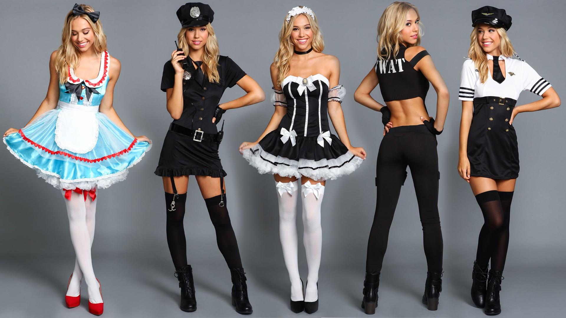 Knee High Socks Girl Wallpaper Wallpaper Police Women Cosplay Model Blonde Long