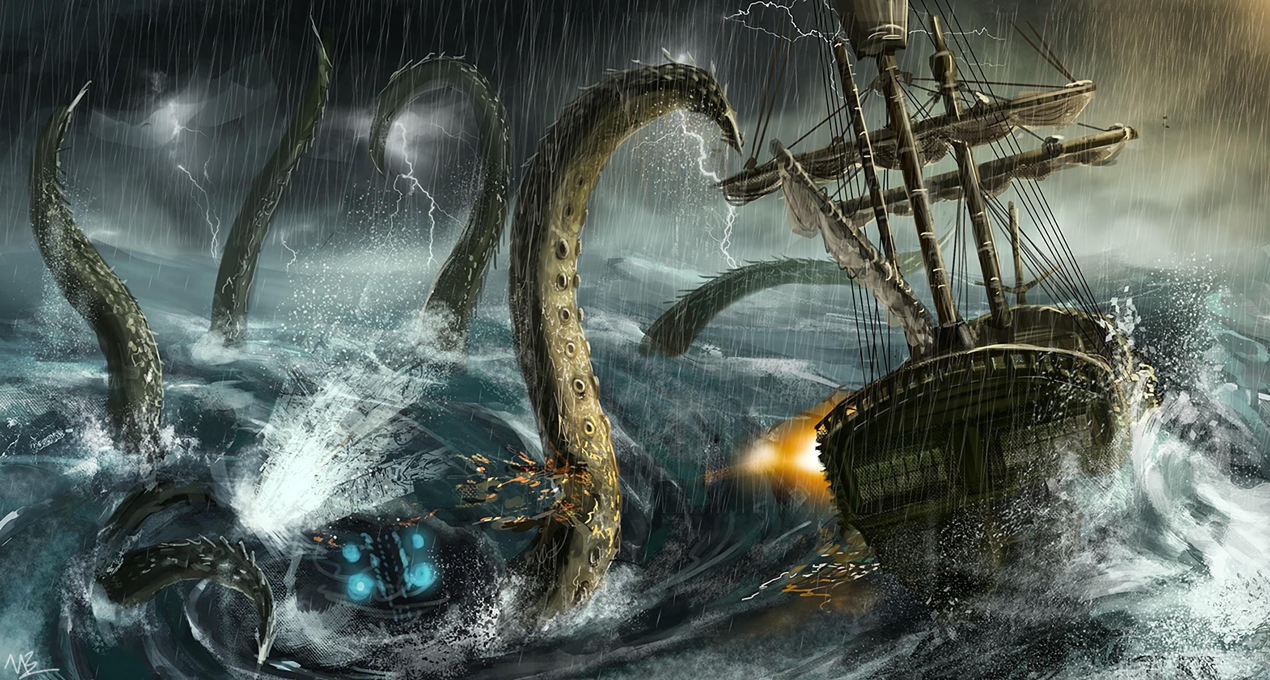 3d Floor Wallpaper Online Wallpaper Sea Monsters Sailing Ship Fantasy Art