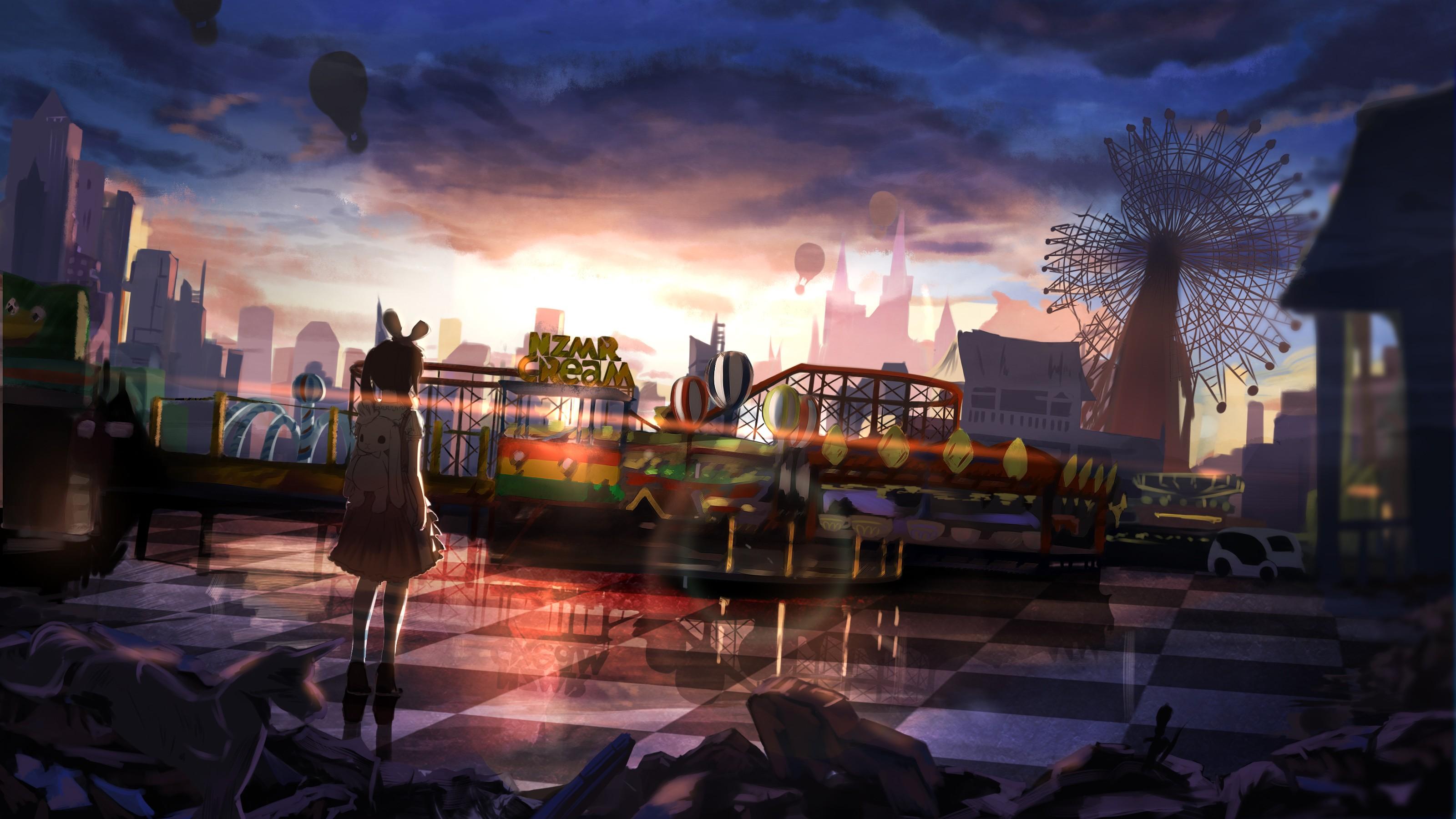 Steampunk Girl Desktop Wallpaper Fondos De Pantalla Puesta De Sol Ciudad Paisaje Urbano