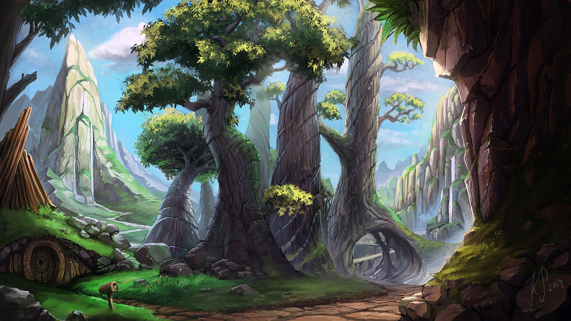 Flashlight 3d Wallpaper Wallpaper Trees Landscape Drawing Painting Forest