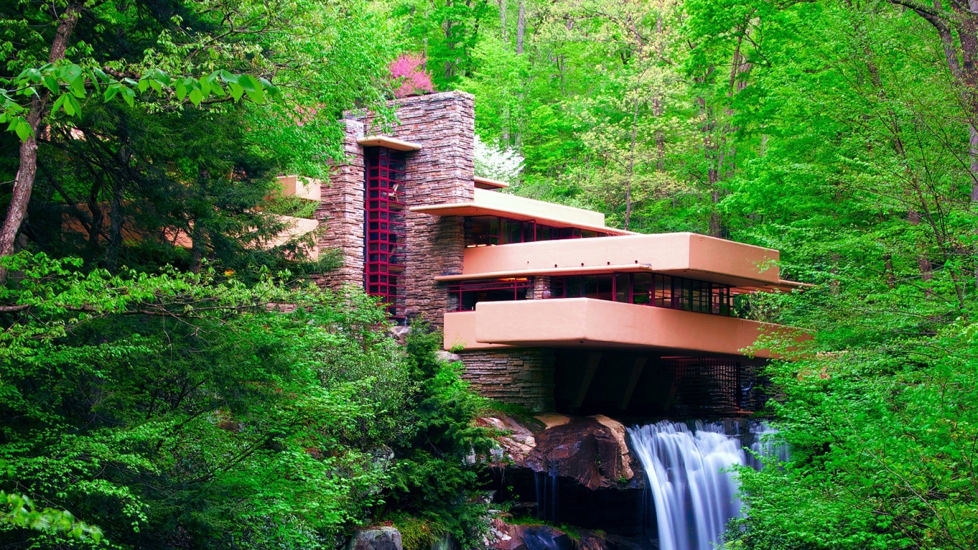 Falling Water House Usa Wallpaper Trees Landscape Forest Leaves Waterfall Garden