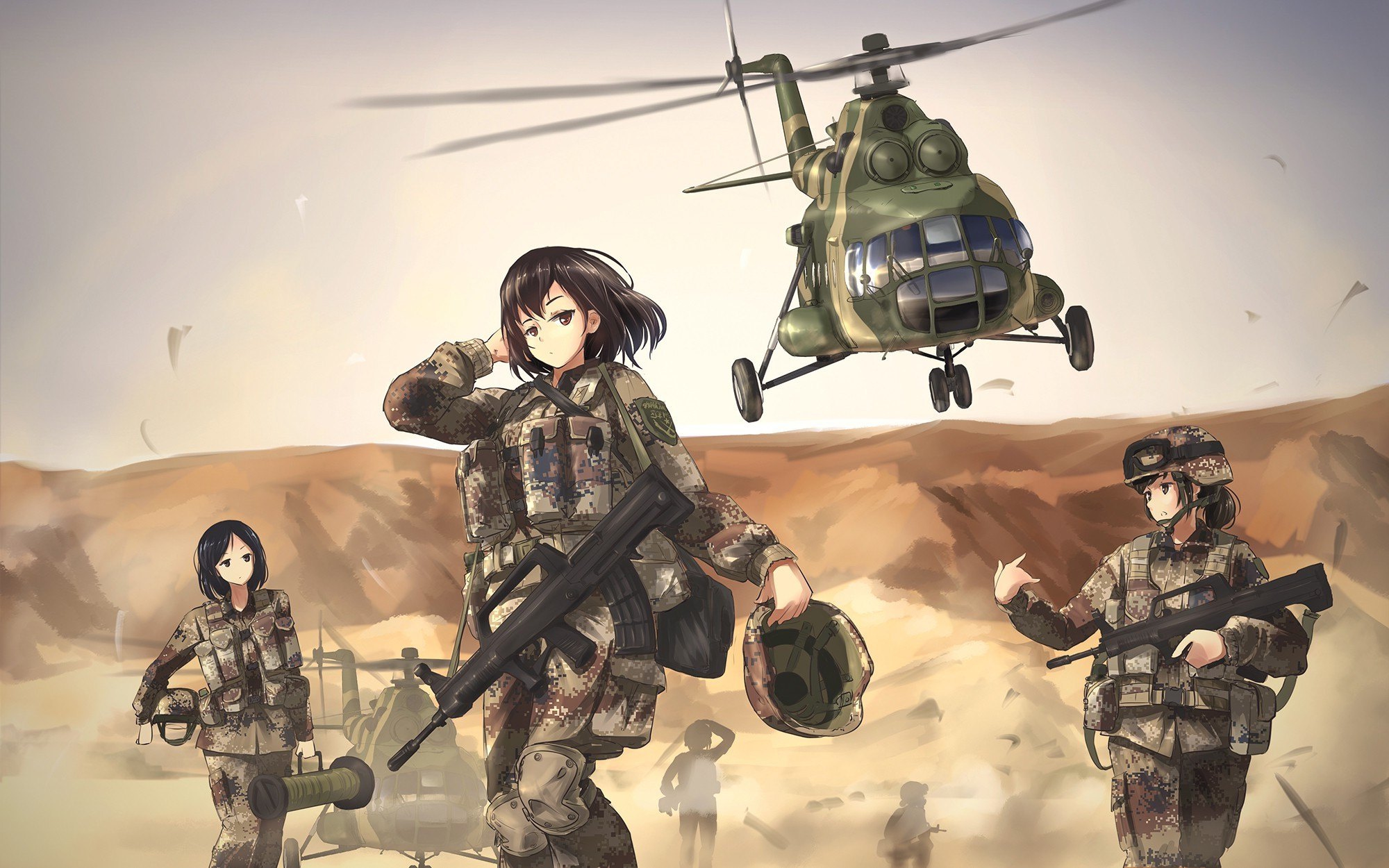 Cute Anime Couple Wallpaper Hd For Android Wallpaper Women Anime Girls Weapon Aircraft Soldier