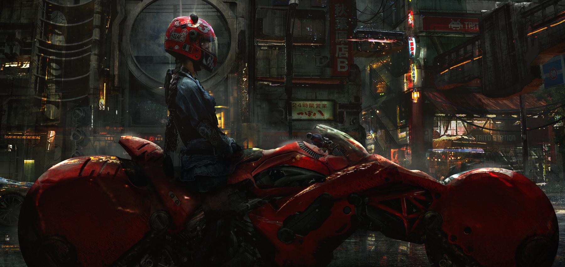 Girl Bar Wallpaper Red Neon Wallpaper Women Digital Art Helmet Cyberpunk