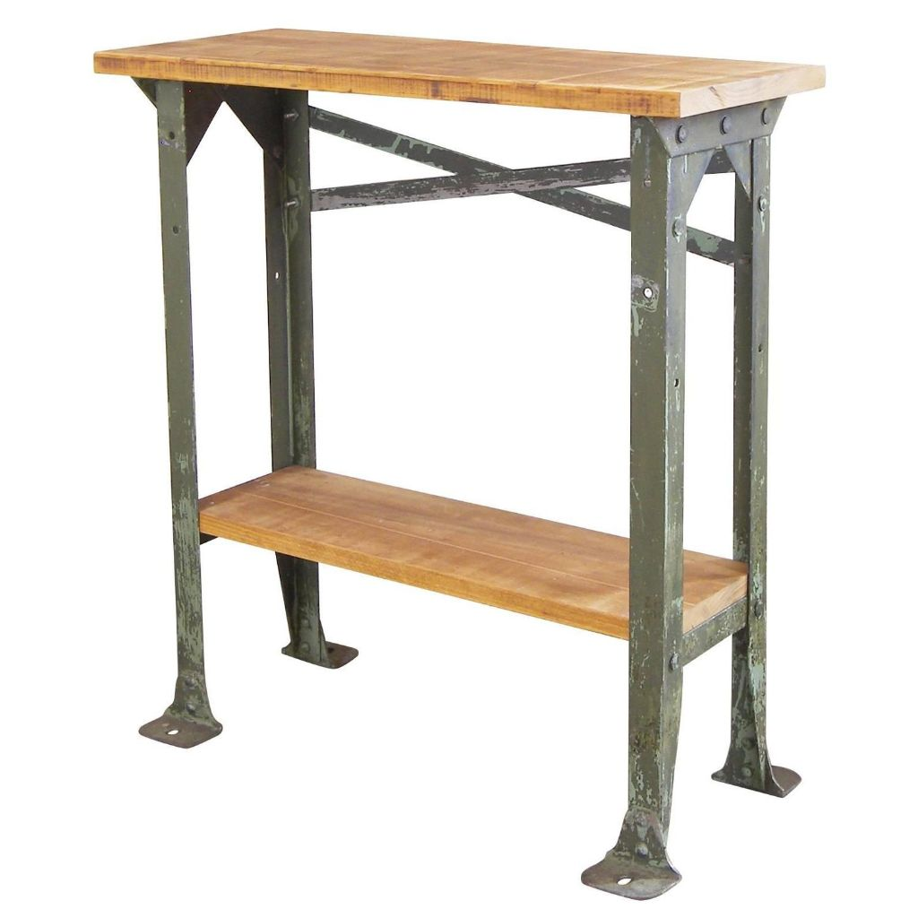 Wood And Metal Side Tables Industrial Two Tier Wood And Metal Side Table Get Back Inc