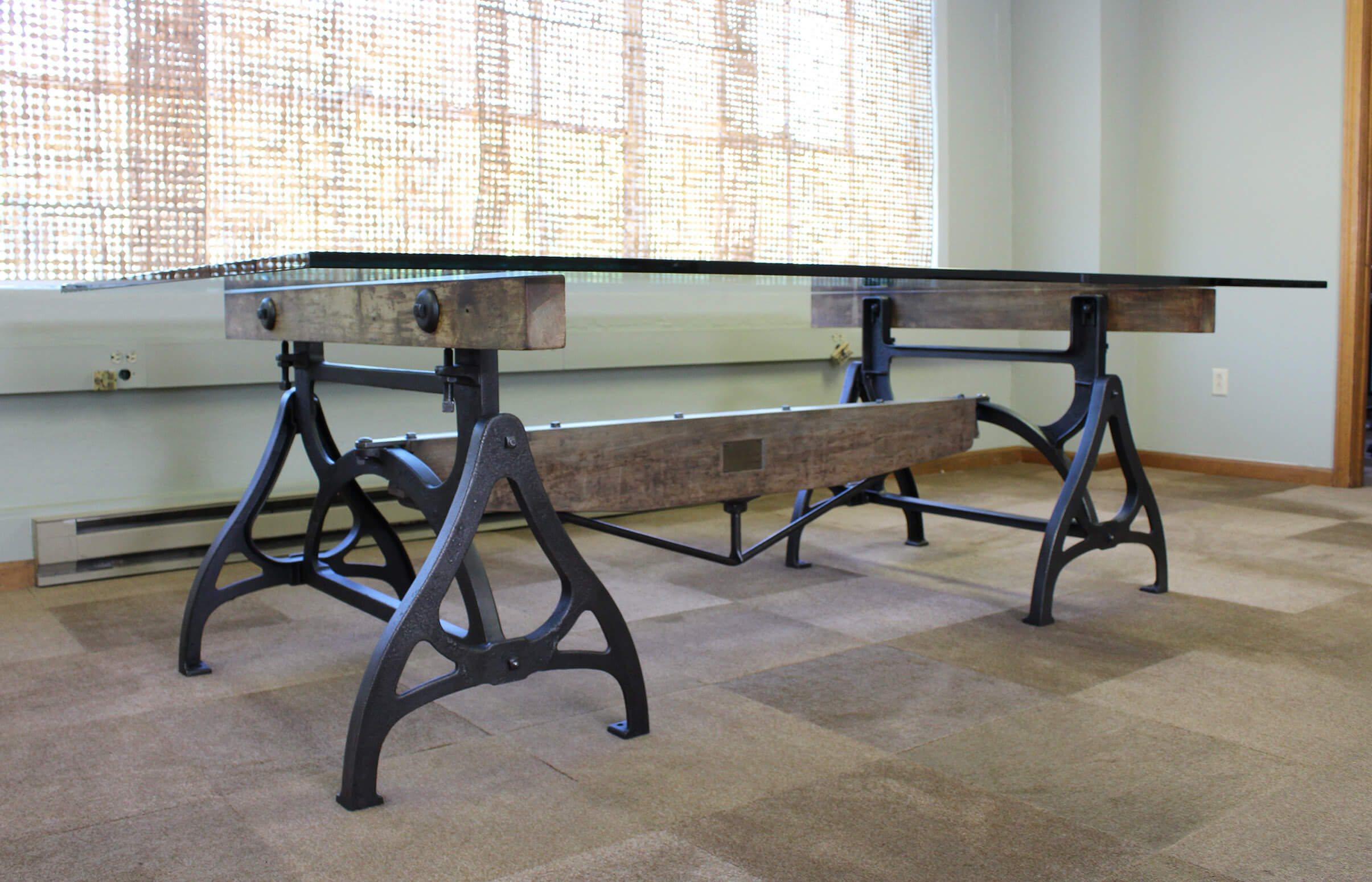Wrought Iron And Wood End Tables Cast Iron And Wood Brake Conference Table Get Back Inc