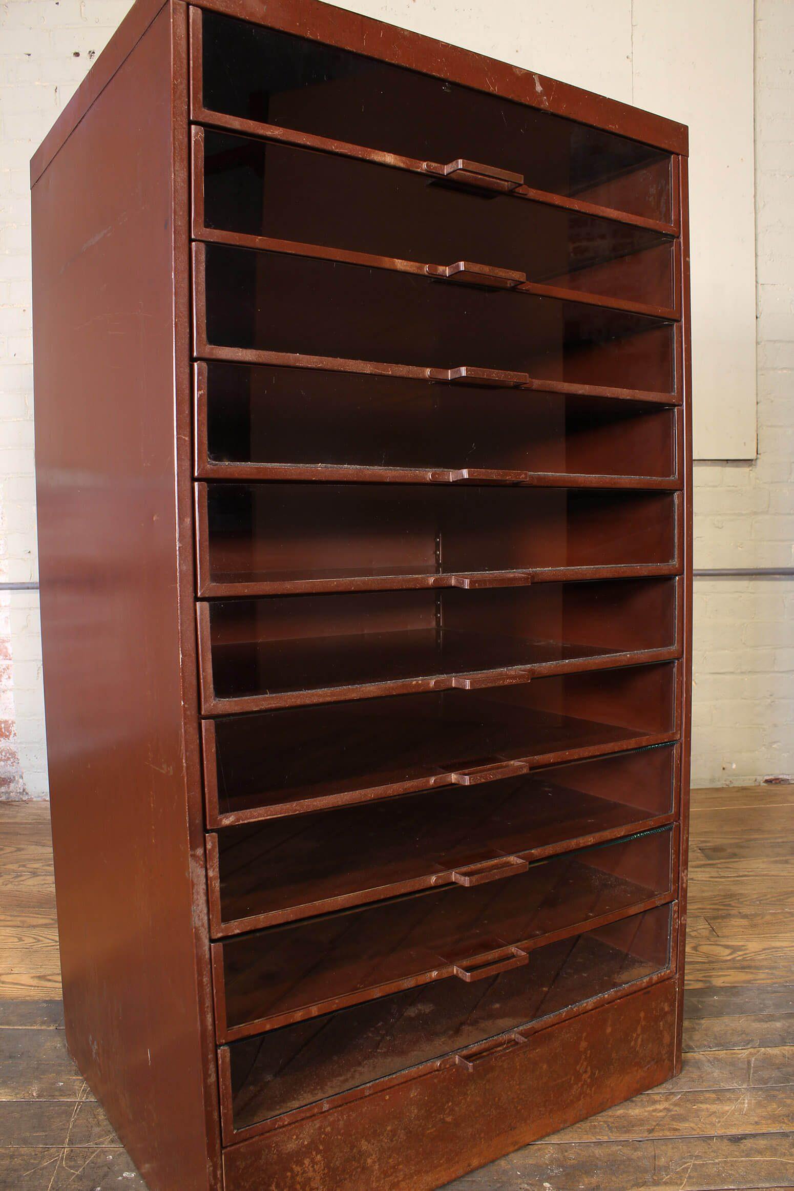 Glass Drawer Cabinet Vintage Industrial By Get Back Inc