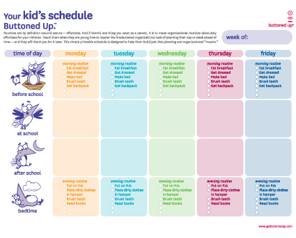 Free printable kid\u0027s schedule sheet « Buttoned Up