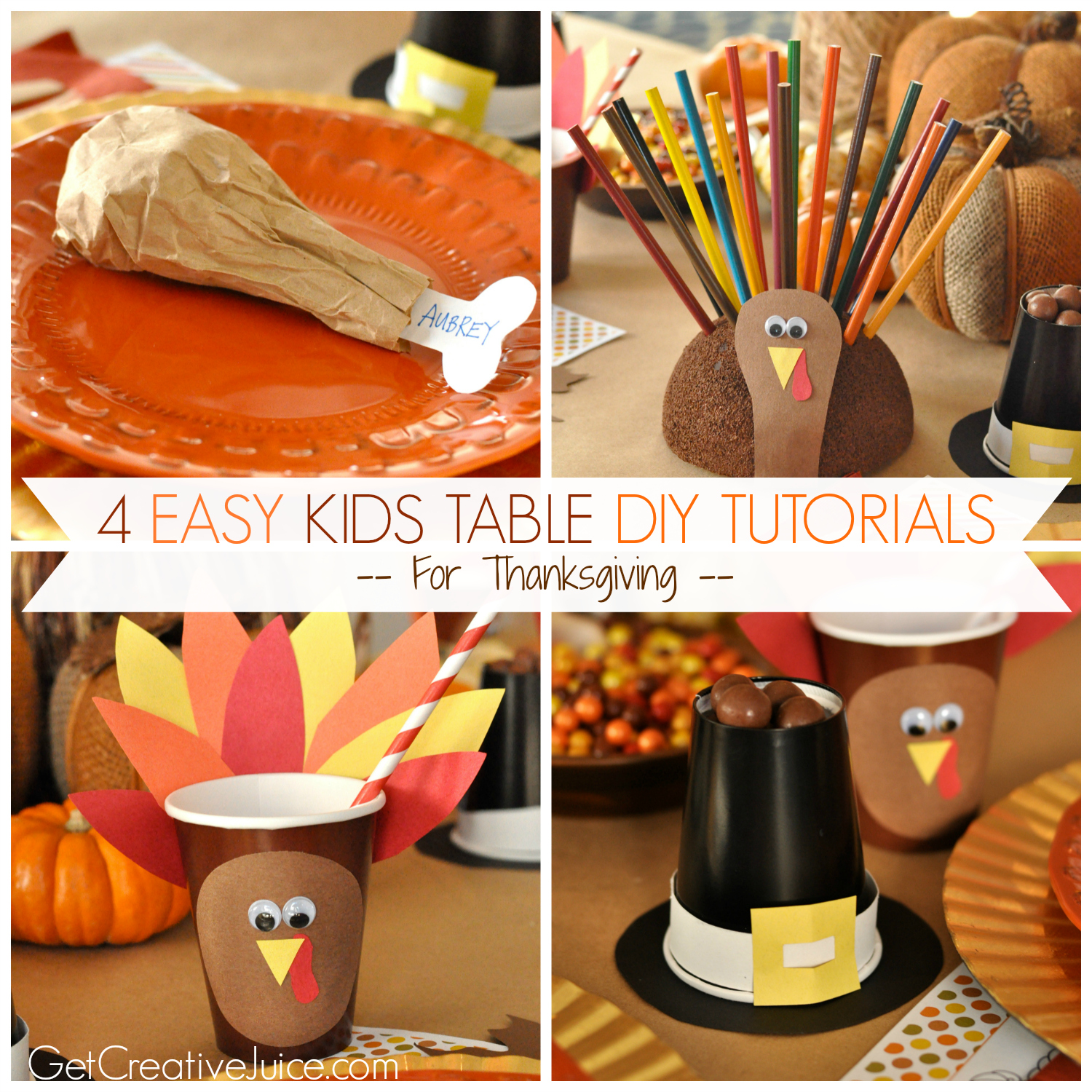 4 Easy Kids Thanksgiving Table Craft Tutorials Creative