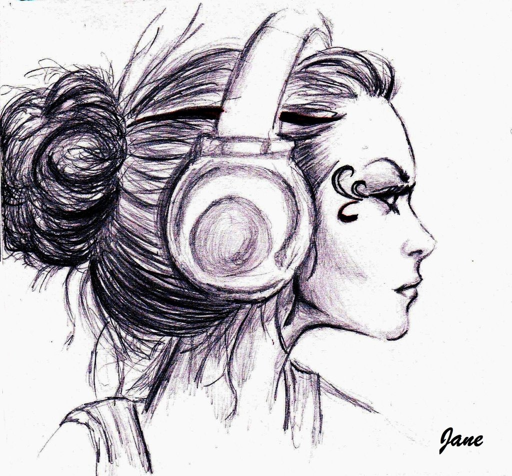 Amazing Wallpaper Girl Headphones Sad Girl With Headphones Drawing Www Pixshark Com