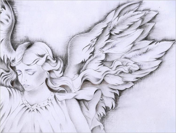 Simple Angel Wings Drawing at GetDrawings Free for personal - angels templates free