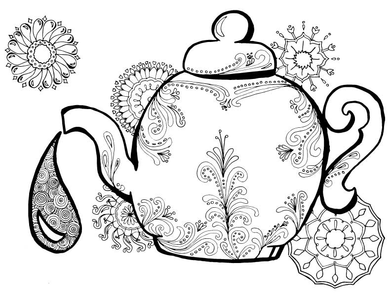 Alice In Wonderland Teapot Drawing at GetDrawings Free for