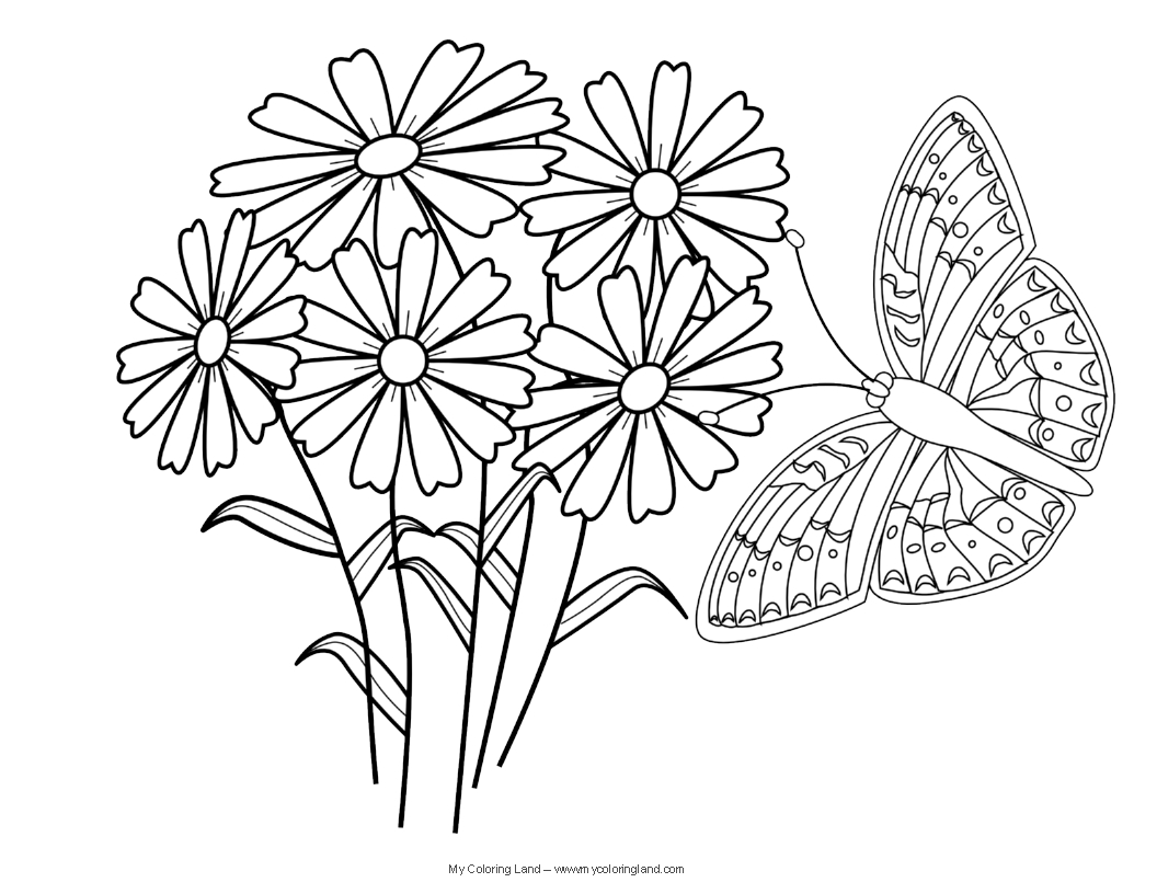 Butterflies And Flowers Coloring Pages - Eskayalitim