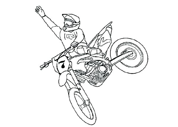 Draw A Dirt Bike Helmet Coloring Pages Bikes Drawn Bike Colouring