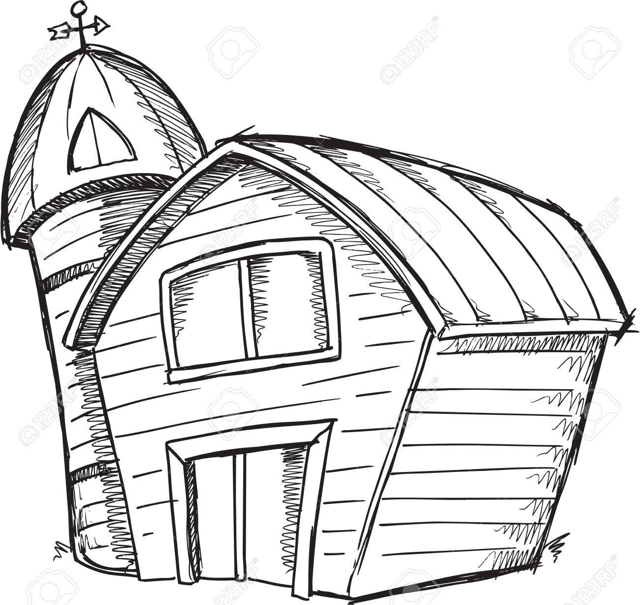 Red Farmhouse Drawing Old Barn Drawing At Getdrawings Free For Personal