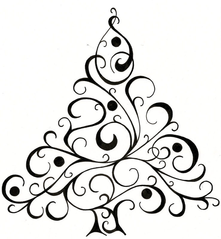 Christmas Card Silhouette at GetDrawings Free for personal use - christmas cards black and white