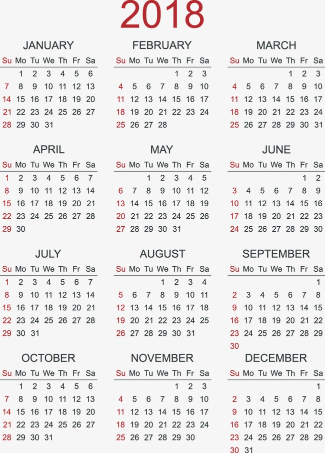 Calendar 2018 Vector Free Download at GetDrawings Free for