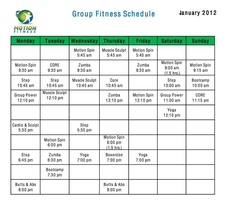 fitness calendar template 777