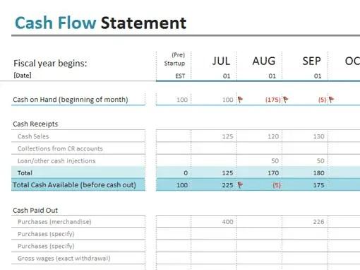 cash flow excel template 111