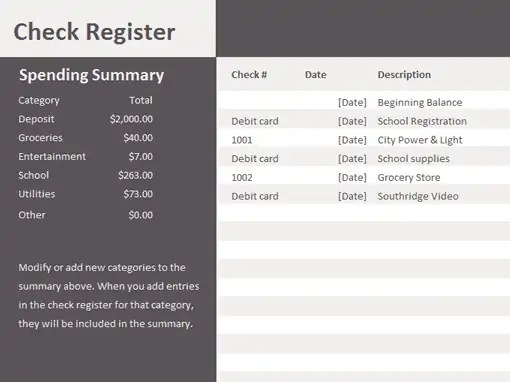 excel check register template