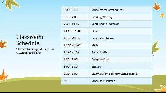 class schedule template 999