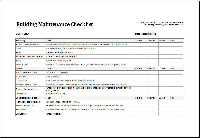 7+ Facility Maintenance Checklist Templates