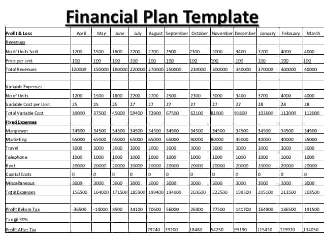 8+ Financial Plan Templates Excel