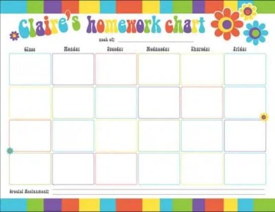 homework calendar template 999