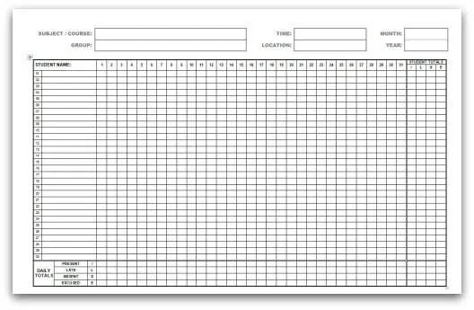 monthly attendance sheet template 333