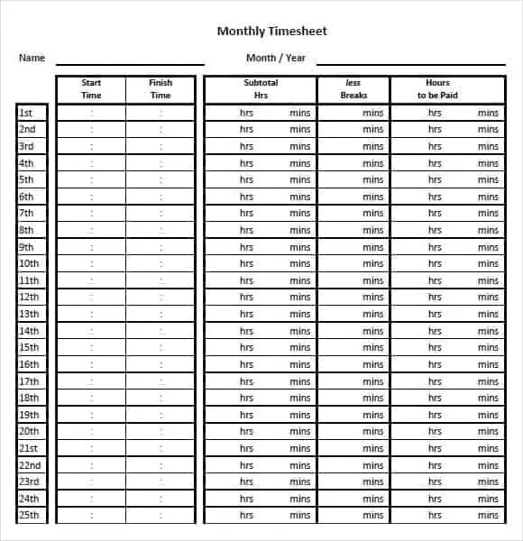 Monthly Timesheet Templates  UspenskyIrkutskRu