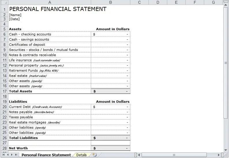 8+ Personal Financial Statement Templates | uspensky-irkutsk.ru