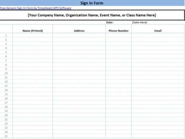 sign in sheet template 555