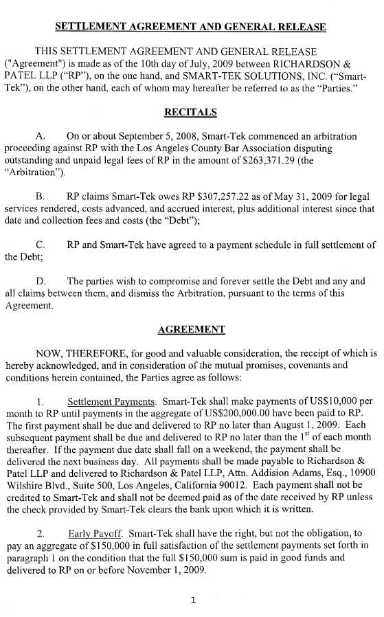 Trucept, Inc - FORM 10-K - EX-1010 - SETTLEMENT AGREEMENT AND - release of interest form