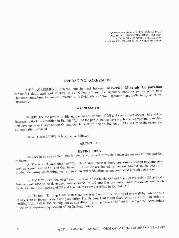 MAVERICK MINERALS CORP - FORM 8-K - EX-103 - JOINT OPERATING