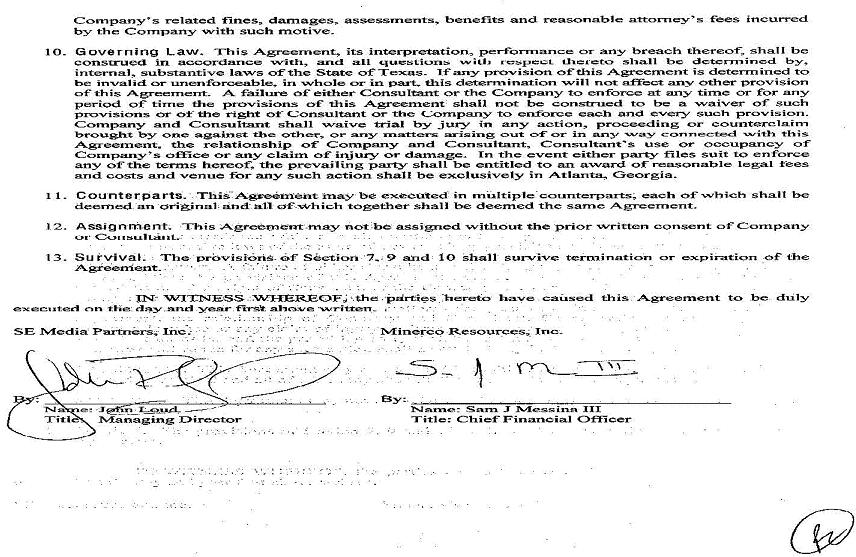 Minerco, Inc - FORM 10-K - EX-1024 - ADDENDUM TO CONSULTING - consulting agreement form