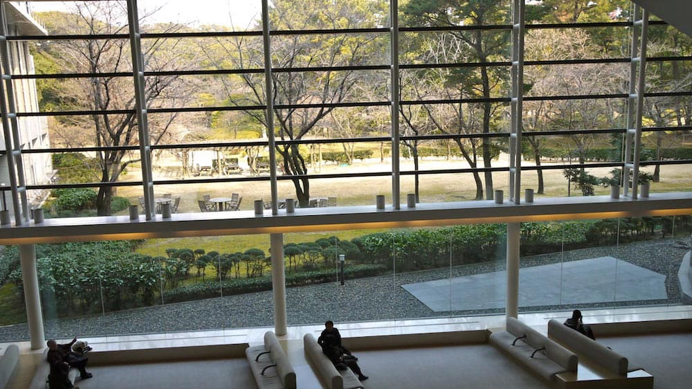 Lobby of Hiroshima Prefectural Art Museum, looking out onto Shukkeien Garden
