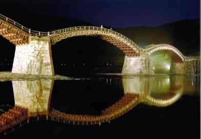 Kintai-kyo Bridge Illuminated during spring