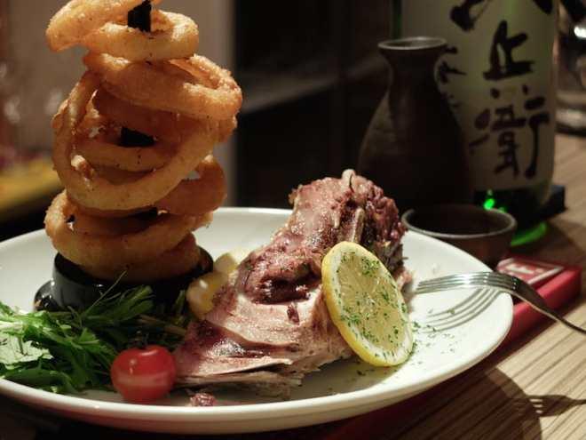 Onion rings and tuna cheek at Hallelujah in Hiroshima