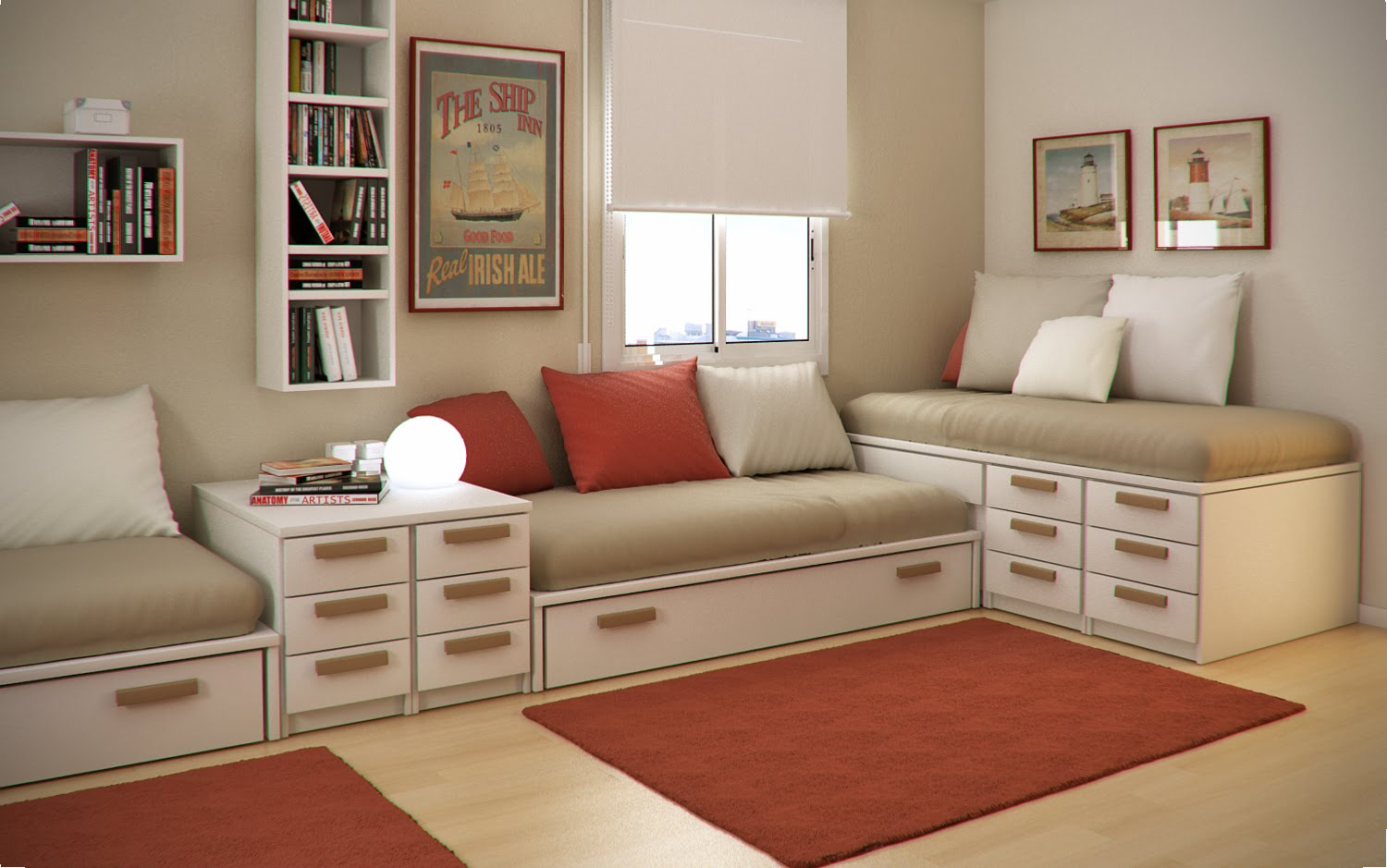 Home Interior Kids Design Ideas Small Floorspace Kids Rooms Red Brown Interior
