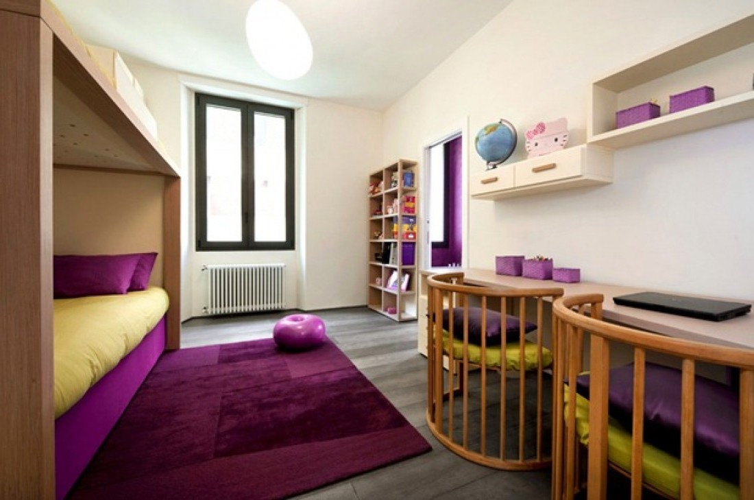 Beauteous Purple Girls Bedroom Ideas An Awesome And Ultramodern Room Decorating Designs With Mounted Wall Desk Also Rattan Chairs And Shelves Pendant Lamp Inspirations Interior Design Center Inspiration