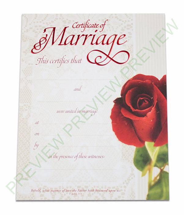 Marriage Certificate - Lace  Rose - Get Ordained