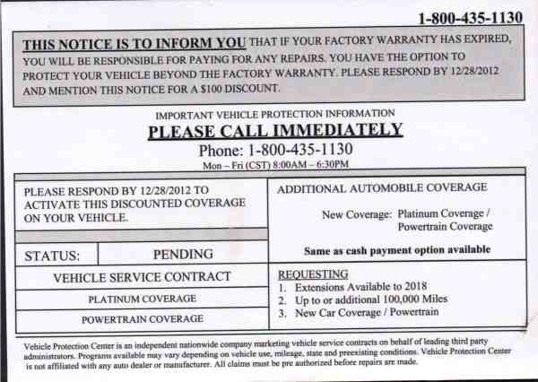 Dont Be Fooled by This Vehicle Extended Warranty Mailer from Vehicle Protection Center