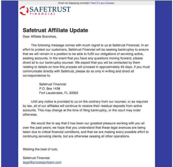 Safetrust Financial Announces Bankruptcy and Ditches Affiliates