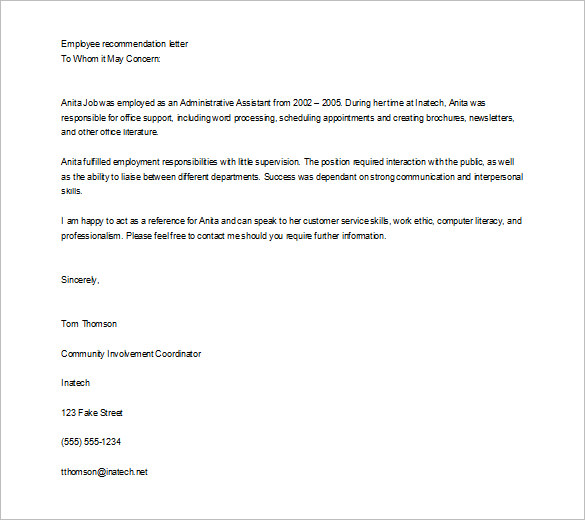 Job Recommendation Letter Templates - 15+ Sample, Examples - letter of recommendation templates