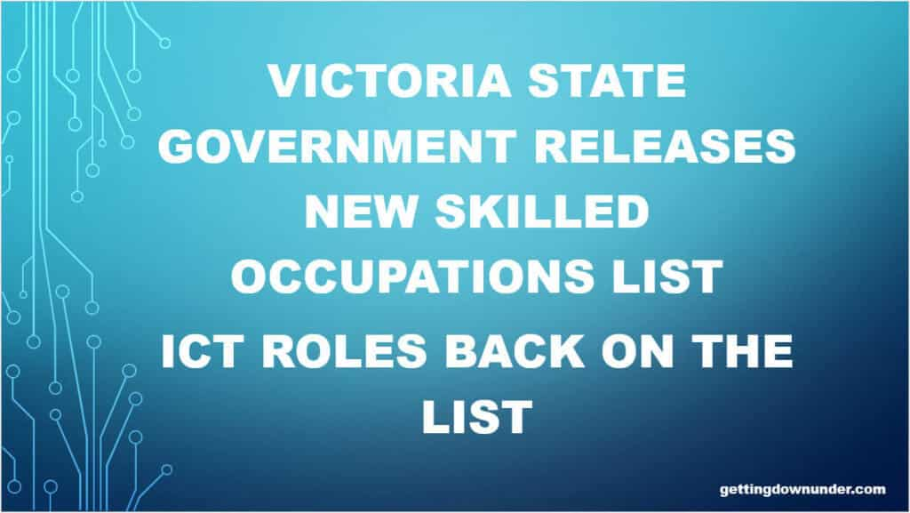 Victoria Releases New Skilled Occupations List Effective 1st July