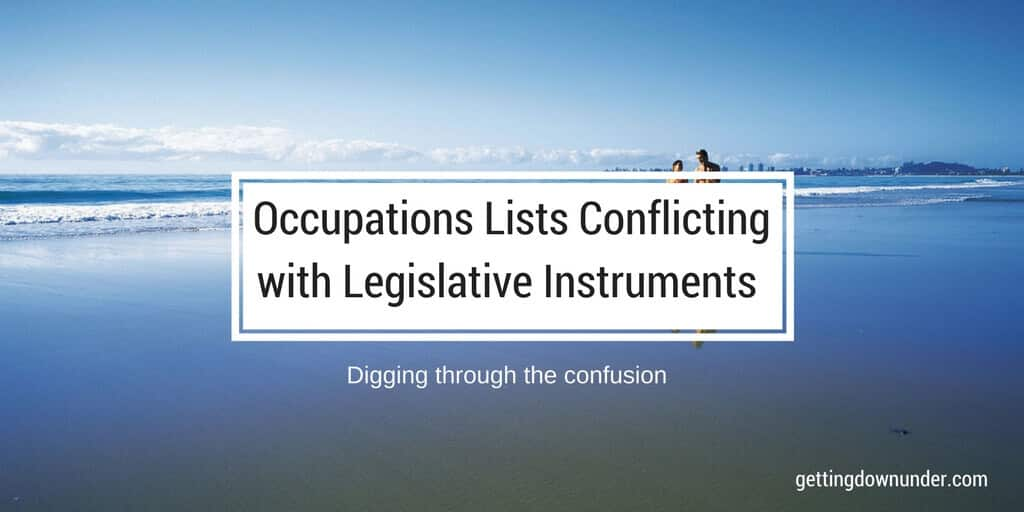 Occupations List And Legislative Instrument Conflicts Causing