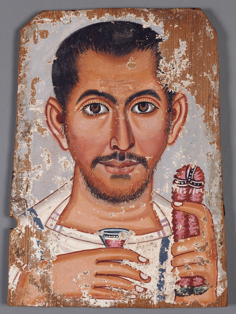 Pittura Romana Fayum Mummy Portrait Of A Bearded Man Getty Museum
